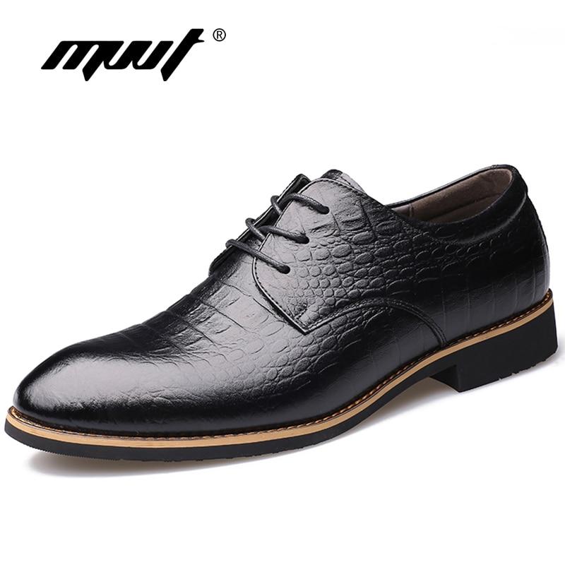MVVT Fashion Men Oxfords Shoes Genuine Leather Men Dress Shoes Luxury Men's Business Casual Classic Gentleman Formal Shoes Man