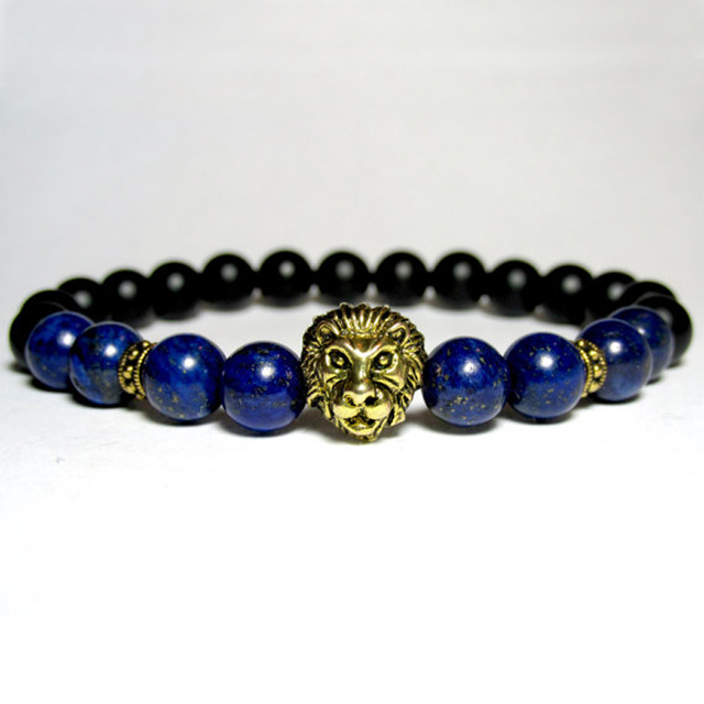 44c2bebc7b SN0701 Unisex Lion Bracelet Lapis Lazuli and Onyx beaded Stretch Bracelets  Yoga Energy Mala Beaded Bracelet