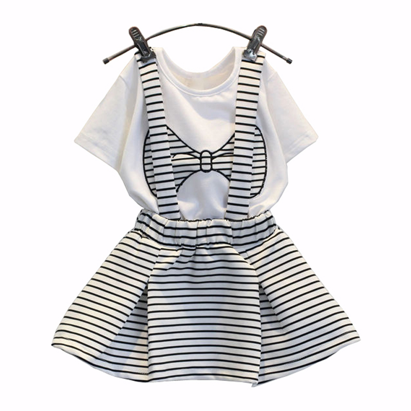 Summer Toddler Girl Bow Print Clothes Sets T-Shirt+Suspenders Skirt Cute Korean Kids Costume 2pcs Suit Outfits Children Clothing цена
