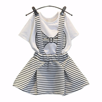 Summer Cute Toddler Girl Bow Print Clothes T Shirt Shorts Suspenders Skirt Suit Korean Baby Costumes