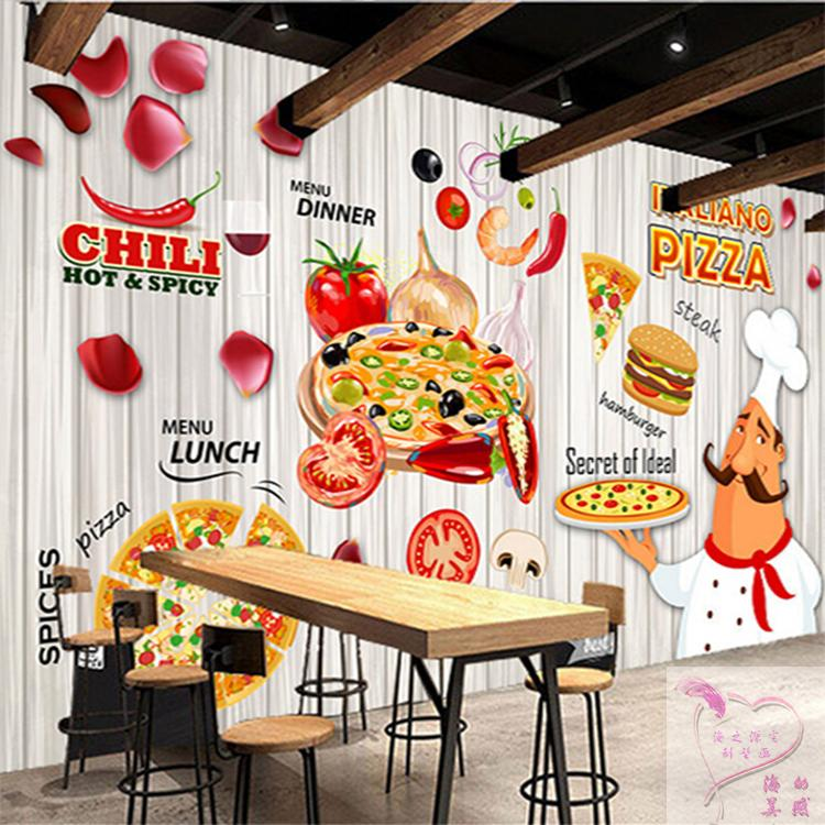 Us 15 23 38 Off Custom 3d Mural 3d Pizza Cake Hamburger Bakery Wallpaper Casual Coffee House Restaurant Hot Pot Snack Shop Wallpaper Mural In