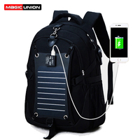MAGIC UNION Technology Men Backpacks Solar Power Charger Backpack For Men 35L Waterproof Bags Oxford 15