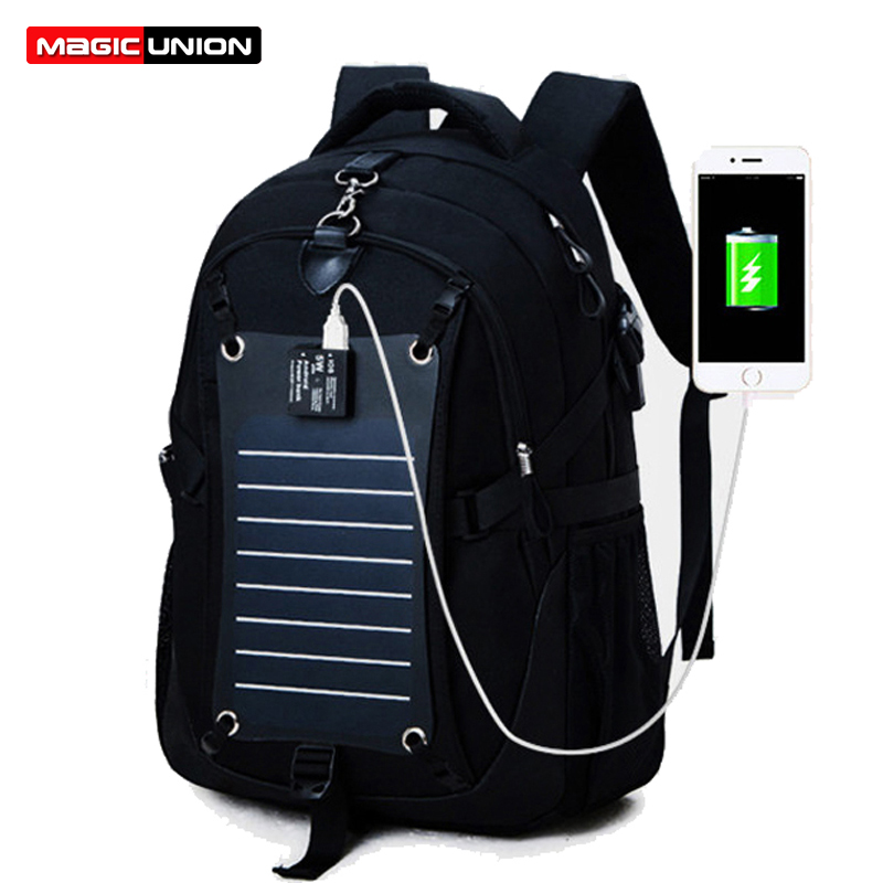 MAGIC UNION Technology Men Backpacks Solar Power Charger Backpack for Men 35L Waterproof Bags Oxford 15 Inch Laptop Backpack почтовый ящик union science and technology