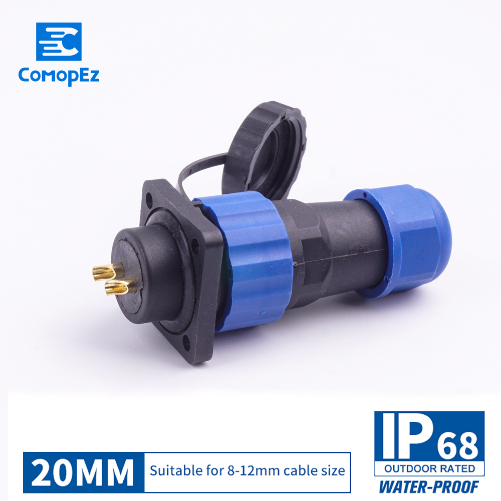 Waterproof Connector SP20 Type IP68 Cable Connector Plug & Socket Male And Female 2/3/4/5/7/9/10/12/14 Pin SD20 20mm Square