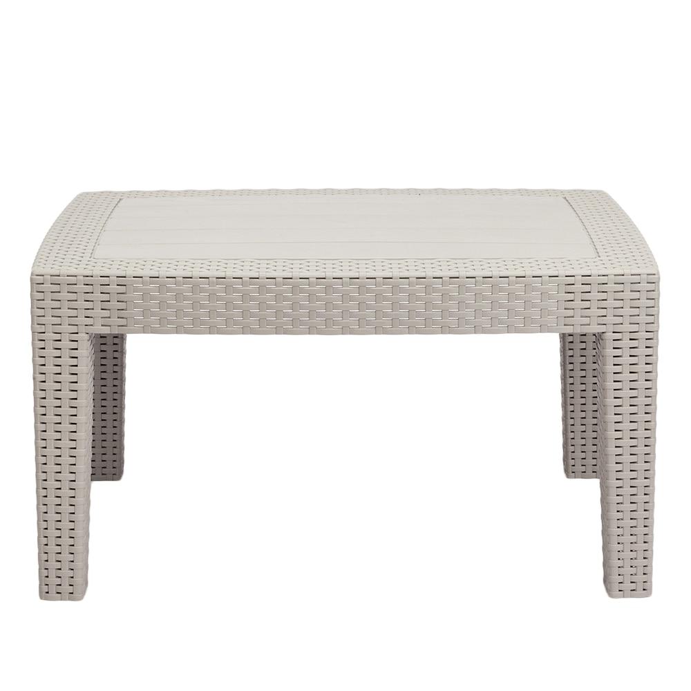 Outdoor Rectangular Coffee Table Weather Resistant Patio Garden Balcony Lounge Coffee Table Urban Design Gray White - US Stock