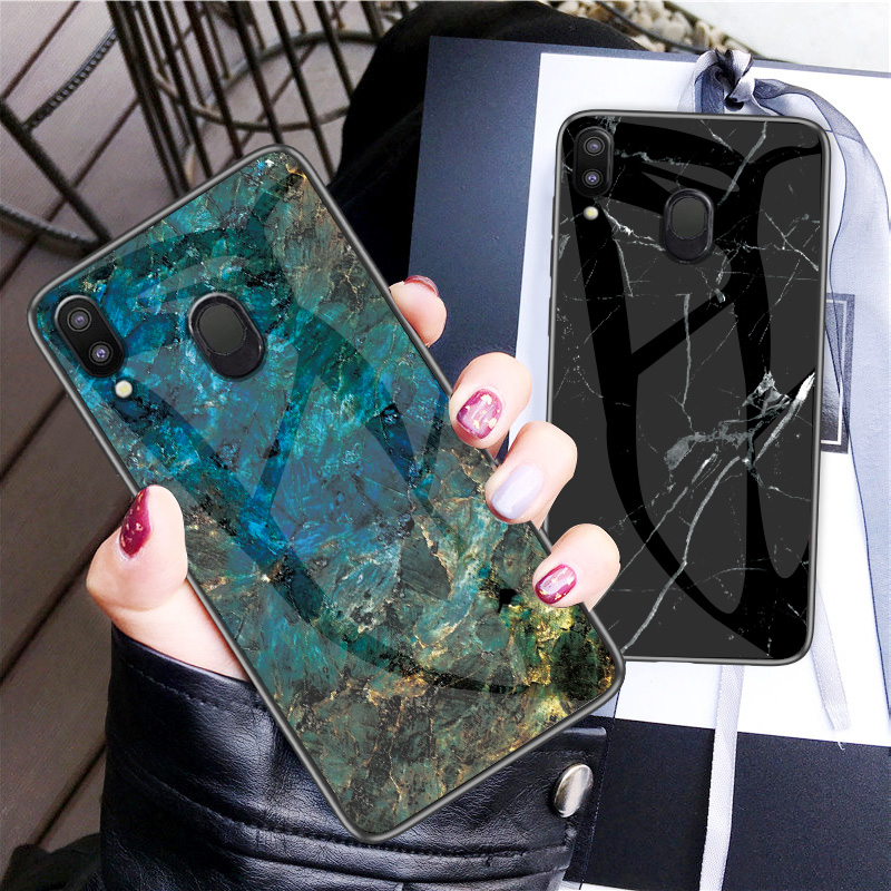 For Samsung Galaxy M20 Case Luxury Marble Tempered Glass Silicone Frame Back Cover For Samsung M10 M30 Protective Shell in Fitted Cases from Cellphones Telecommunications