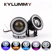 Car LED Daytime Running Fog Lights Angel Eyes 76mm 3 0Inch 7 Colors DRL Lens Eagle