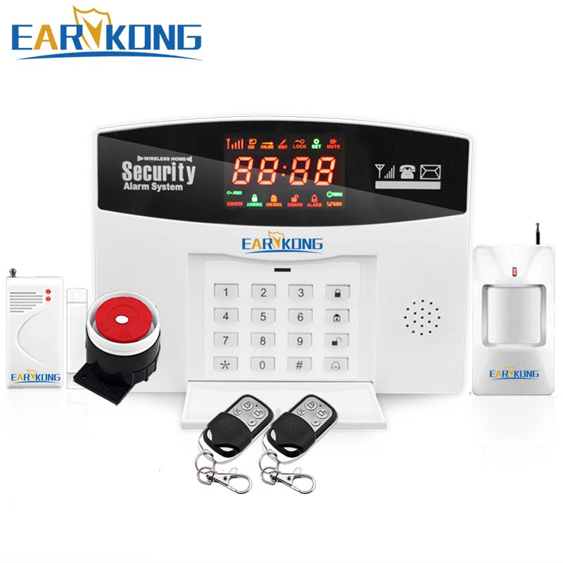 English /Russian /Spanish Voice GSM Alarm System Wireless 433MHz, Built in Relay Support Extra Device Control, Smoke Fire Alarm