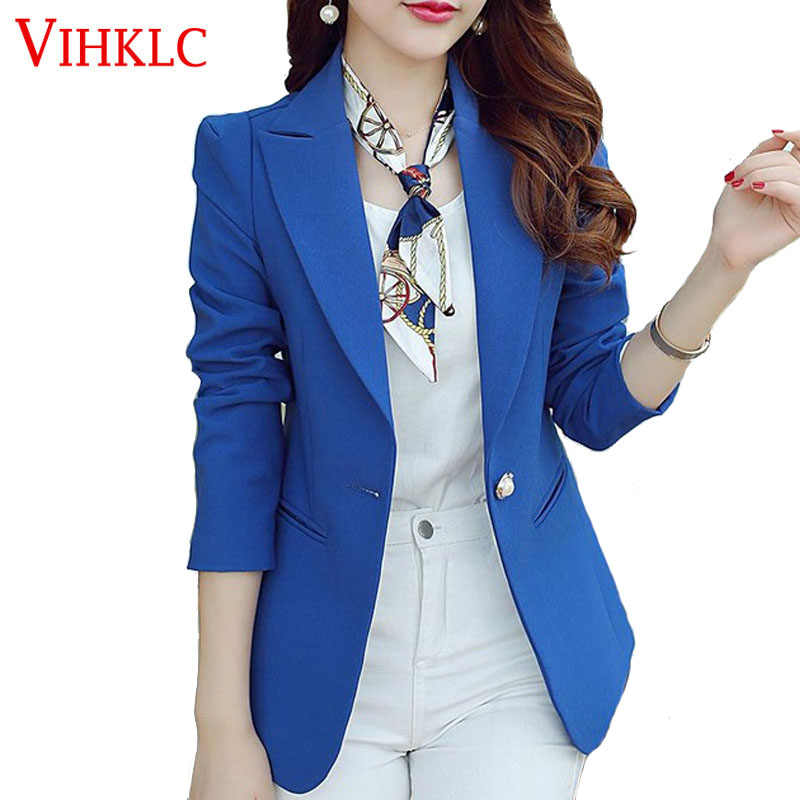 339a55d3a9f Women Blazers And Jackets Suit 2018 Spring Autumn Jackets Single Button  Blaser Female Blue Black
