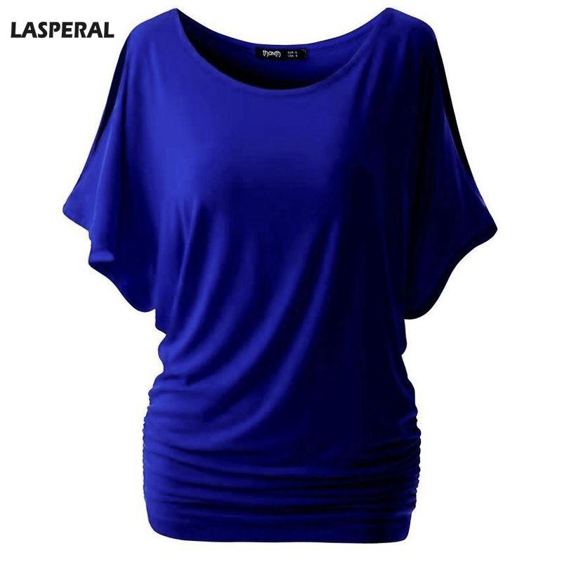 LASPERAL Merk Casual T-shirt Vrouwen Batwing Mouw Blusa Tops Effen O-hals vrouwen Katoen Tee Shirts Zomer Tees Top Plus Size
