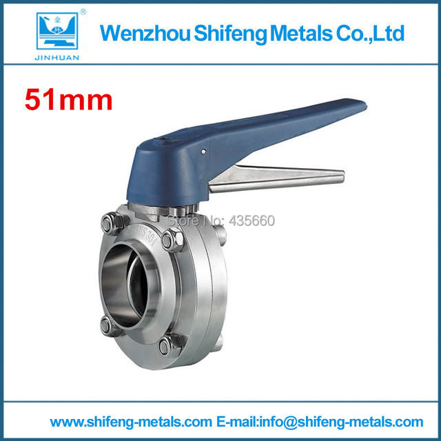 2'' (51mm) Welded butterfly valve,plastic blue handle , sms304