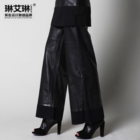 2015 Spring And Autumn Ladies Fashion Sheepskin Genuine Leather Plus Size Loose Wide Leg Pants Women