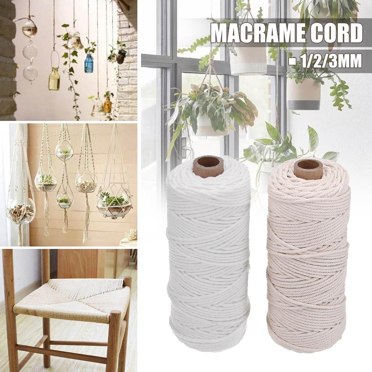 541eb06e9029 Trenzado de Beige cuerda de algodón de 1/2/3mm arte de cadena de Macrame  DIY hecho a mano el hilo ...