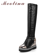 Meotina Women Boots Motorcycle Boots Winter Buckle Super High Heel Tall Boots Platform Wedge Heel Shoes Female Plus Size 34-43