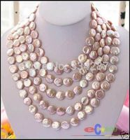10x10 jewerly freeshipping LONG 100 14MM PINK COIN FRESHWATER PEARL NECKLACE