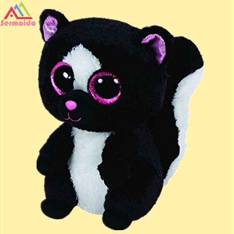 sermoido TY 6'' 15cm Beanie Boos Flora Black/White Skunk Plush Stuffed Doll Toy Collectible Soft Big Eyes Plush Toys ty collection beanie boos kids plush toys big eyes slick brown fox lovely children gifts kawaii stuffed animals dolls cute toys