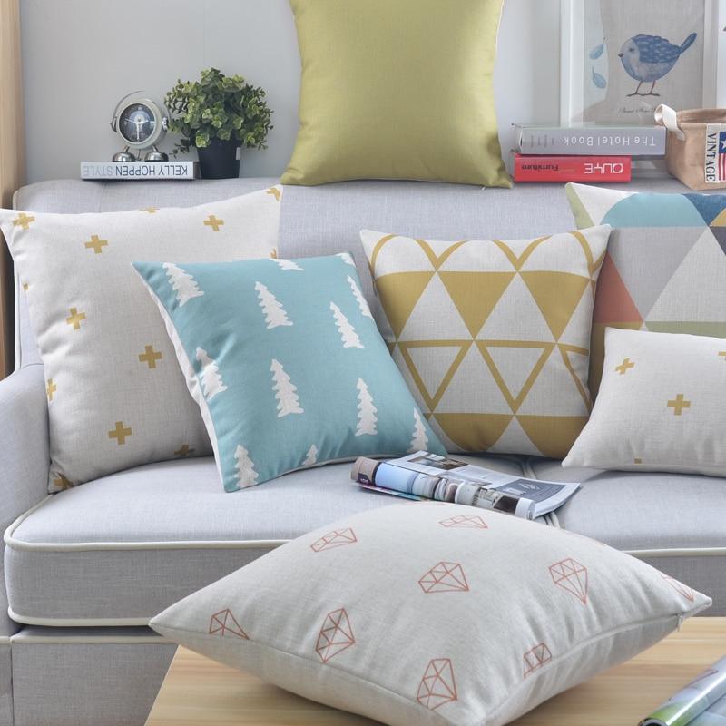 91b7d6b2739 Amarillo fundas decorativas para cojín Casa Decor azul almohadas geométrica  cojines Lino funda de almohada para sofá 45x45 cm en Fundas de colchón de  Hogar ...