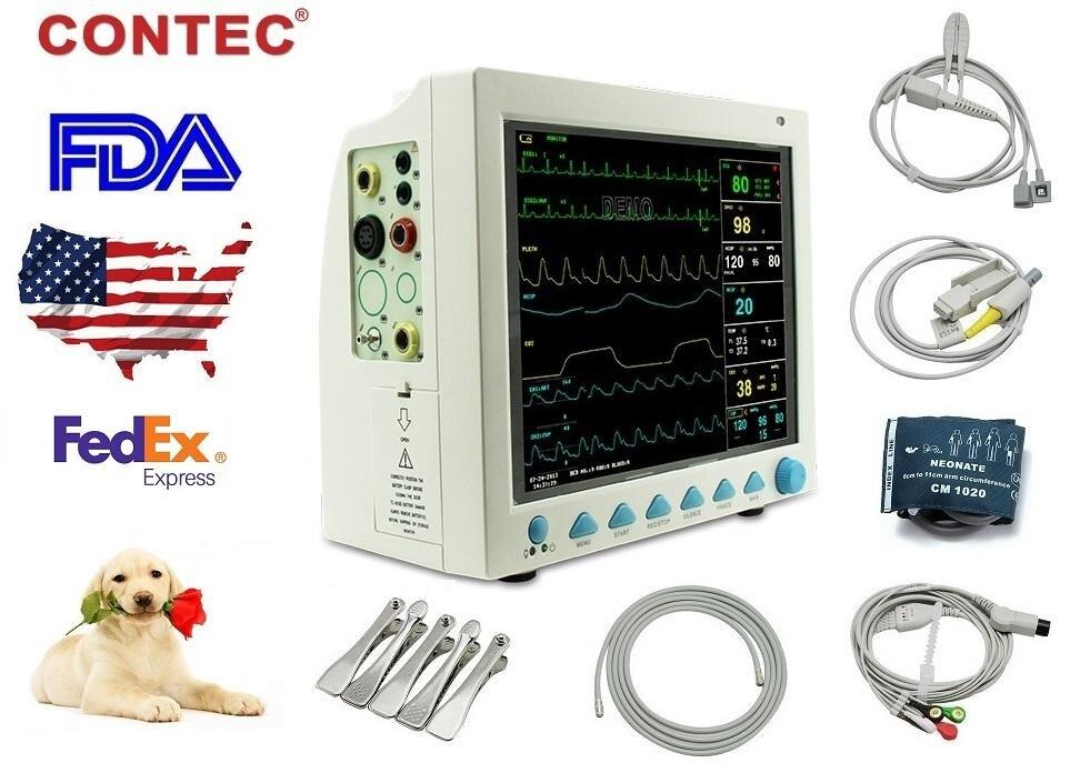 CE, CONTEC, EMS LIBERANO shiping NUOVA CMS8000-VET Vital Signs Veterinaria monitor paziente 6 arameters