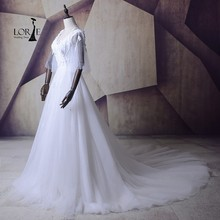 LORIE Bohemian Style Wedding Dresses Robe de mariee 2017 Puffy White Tulle Bridal Gown Long Train Lace Up Back China Custom Made