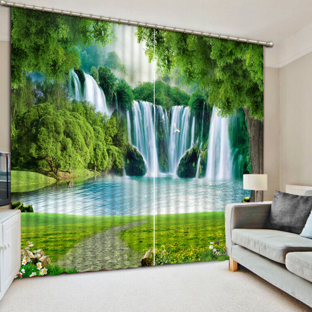 Modern Curtains Waterfall Landscape Rustic Home Decor