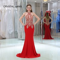 CRYSTAL JIANG 2018 Evening Dresses Long Sexy Halter Gold Lace Applique Red Spandex Custom made Sleeveless Mermaid Formal Dress