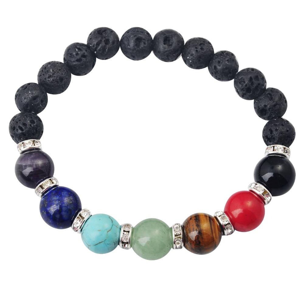 SEVENSTONE 2019 New Muti-color Men Bracelets Lava 7 Chakra Healing Balance Beads Bracelet Charm Natural Reiki Prayer Stones boho