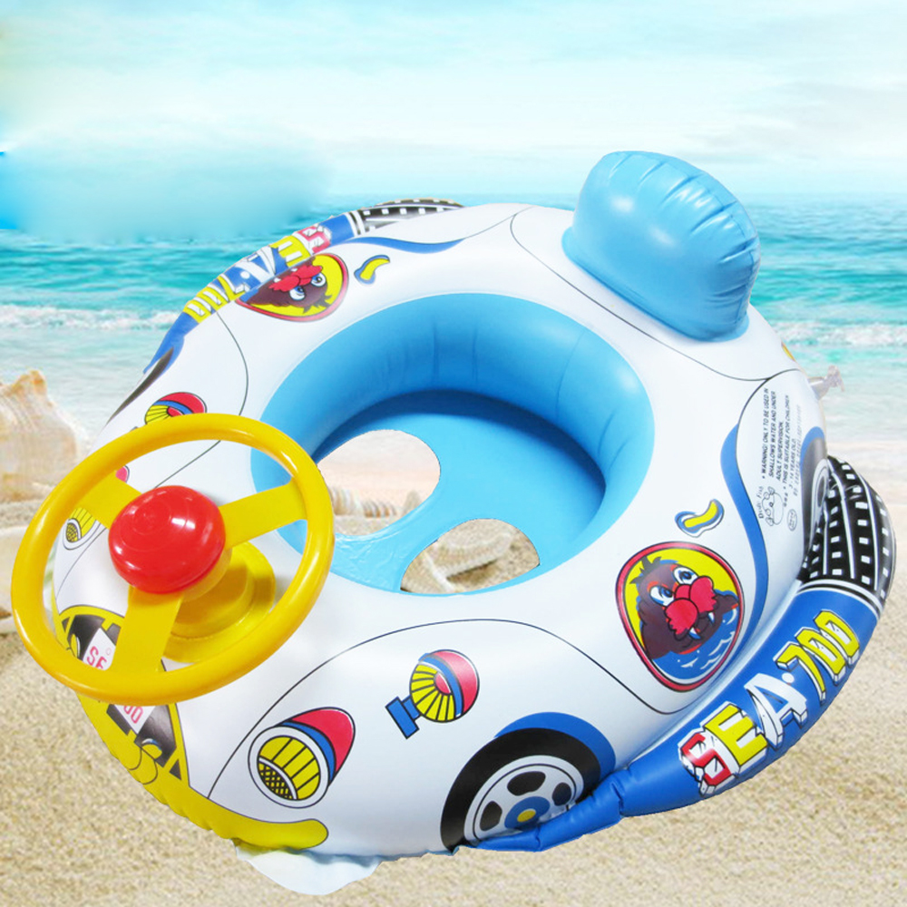 Summer Baby Inflatable Pool Ring Lap Swim Seat Float Boat Baby Swim Pool Toys Car Shape Aid Trainer With Wheel Horn