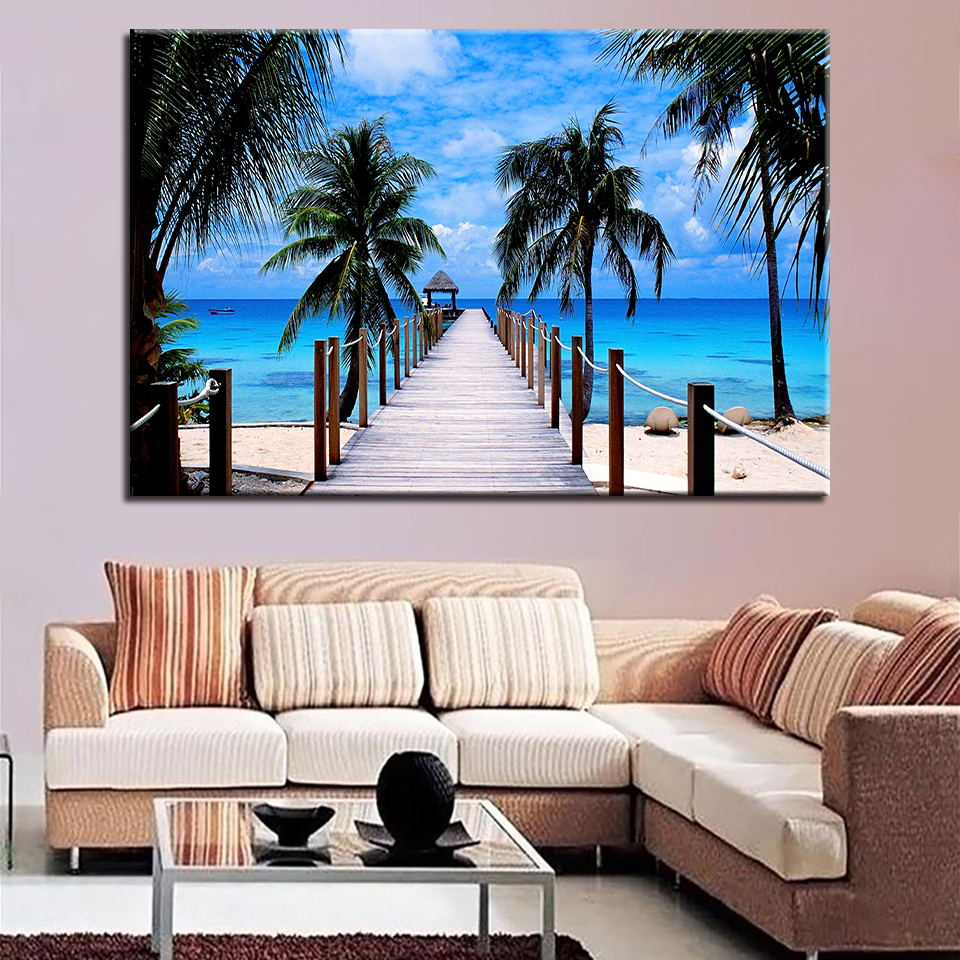 Minimalist Home Decor Family Canvas 1 Set Painting Sea ...