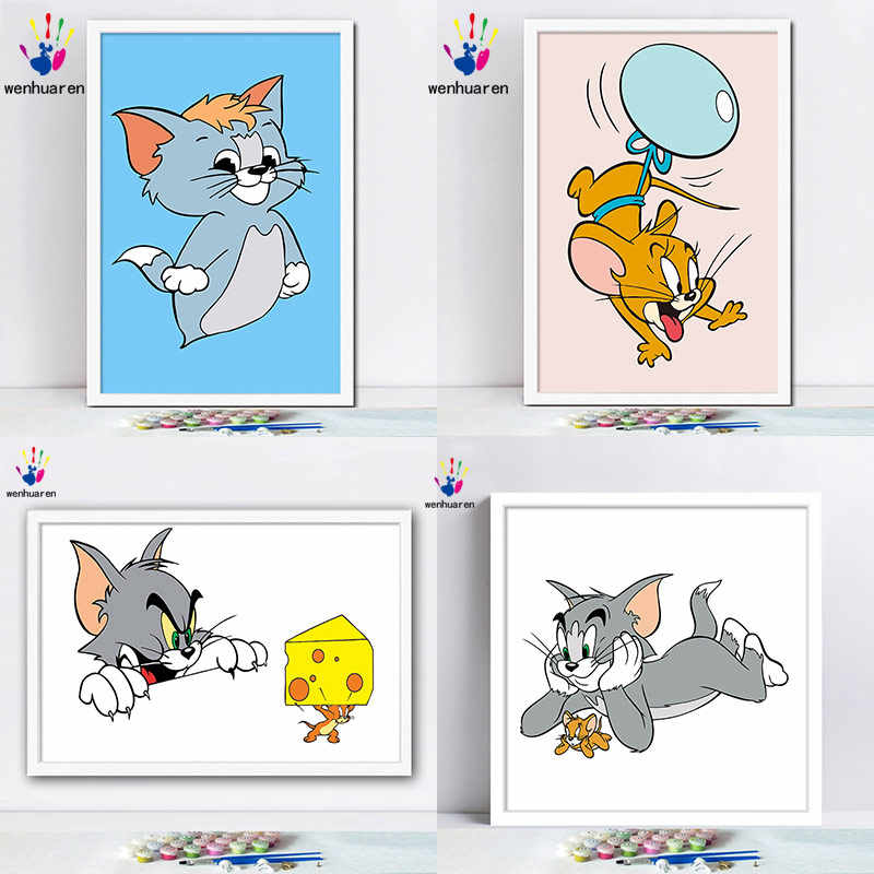 Diy Paint By Numbers Picture Paintings By Numbers With Kits Tom And Jerry Tom Cat Jerry Mouse Animal Cartoon Lovely Gift Paint By Number Aliexpress