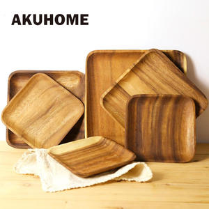 AKUHOME Wooden Tray Dinner Plate Food Dessert Round Square