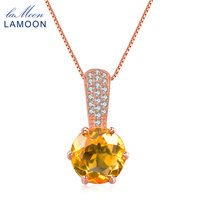 Lamoon 925 Sterling Silver Chain Pendant Necklace Women Jewelry Plated S925 8mm 2ct Natural Round Citrine LMNI041