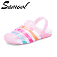 Women Sandals Summer New Candy Color Women Shoes Peep Toe Stappy Beach Garden Sandals Rainbow Croc Jelly Shoes Woman Flats Jux3