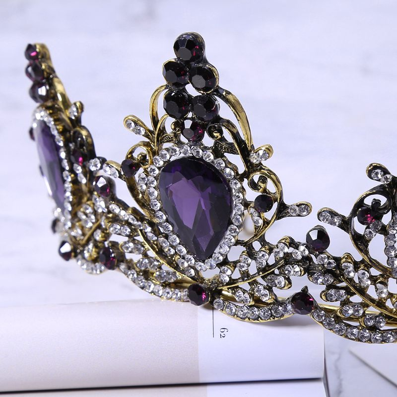 JAVRICK Purple Crystal Wedding Tiara Bridal Crown For Wedding Bride Vintage Gold Color Rhinestone Crown Headband Jewelry in Hair Jewelry from Jewelry Accessories