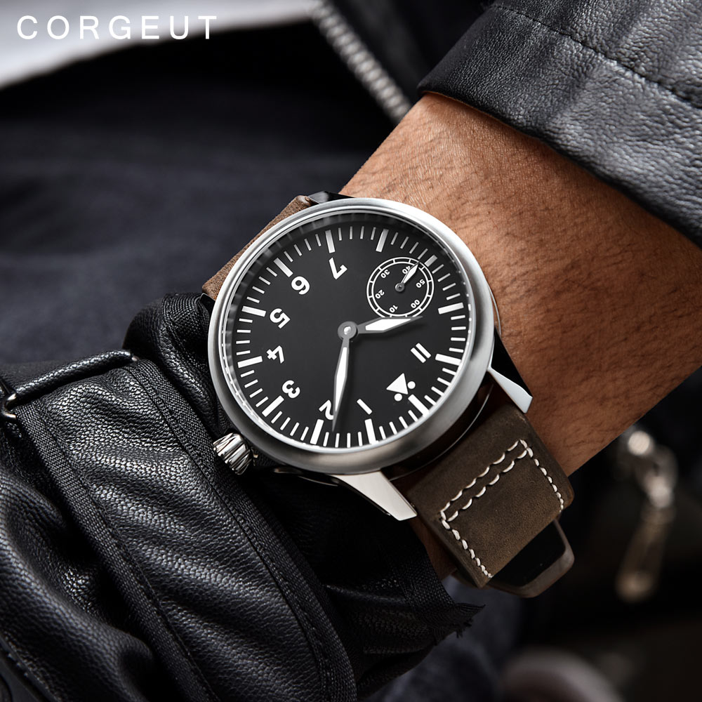 цены Corgeut Fashion Leather Top Mechanical Watch 17 Jewels Seagull 6497 Hand Winding Mechanical Watches luminous Men wristwatches