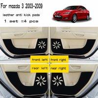 Leather Car Styling Anti Kick Pad Anti dity Doors Mat Accessories For mazda 3 mazda3 BK 2003 2004 2005 2006 2007 2008