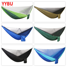 YYBU 290*140cm Hanging Hammock with Mosquito Net Arny Green 1-2 Outdoor Adult Travel Camping Home Garden Swing Chair