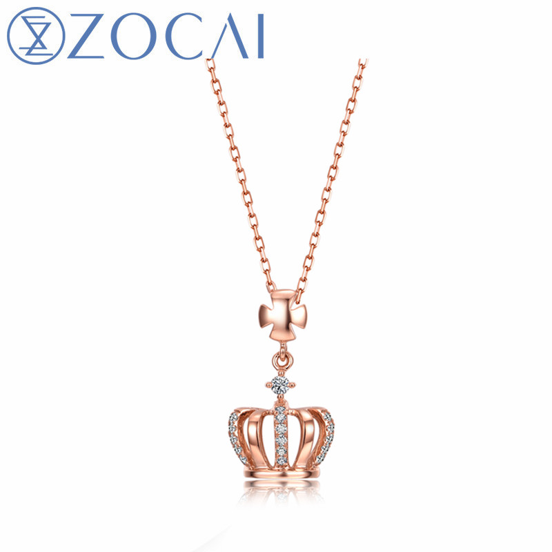 ZOCAI real diamond necklace 18K rose gold pendant (AU750) + 925 silver chain as gift free shipping