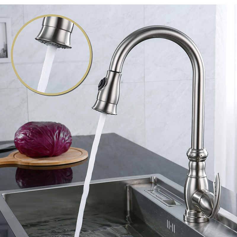 LOY Brass Singel Lever High Arc Pull Down Kitchen Faucet With Retractable Pull Out Wand, Swivel Spout, Polished Chrome LOY 02005