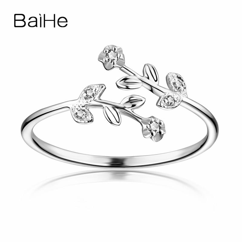 BAIHE Solid 10K White Gold Sweet Women Diamonds Engagement Ring Flower Leaf Wedding Band Women Anniversary Valentine's day Gift sweet rhinestone flower cuff ring for women