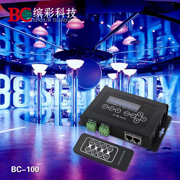BC 100 DC9V led RGB Controller DMX512 signal 170 Pixels led Light Controller LCD Display&RF Wireless Remote for led strip module