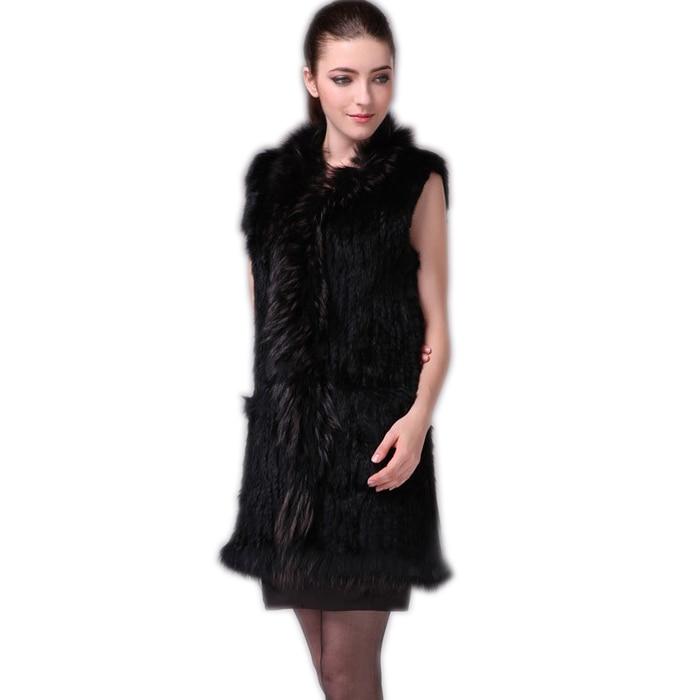 Harppihop Fur Vest Women Knitted Real Genuine Real Rabbit Fur Vest  Overcoat Pocket Garment & Raccoon Collar Without Hood