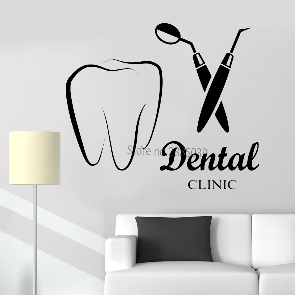 Dental Clinic Logo Quote Wall Decal Dental Wall Stickers Vinyl Teeth Clinic Wall Decor Tooth Sign DIY Paste  Murals Poster LC863|Wall Stickers| |  - title=