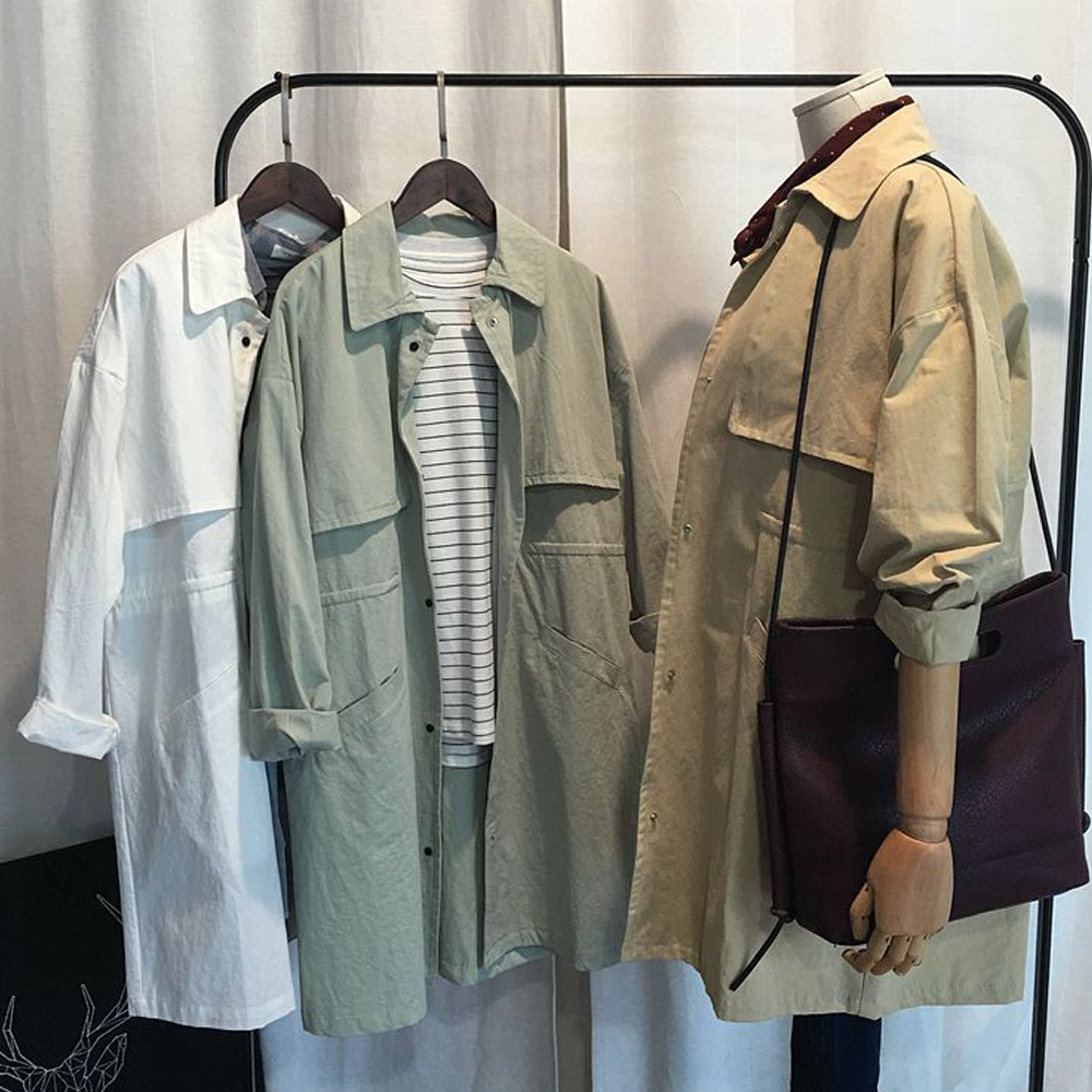 2017 Autumn new Oversize Women's long Korean   trench   coat Loose Large size ladies' High quality   trench   coats
