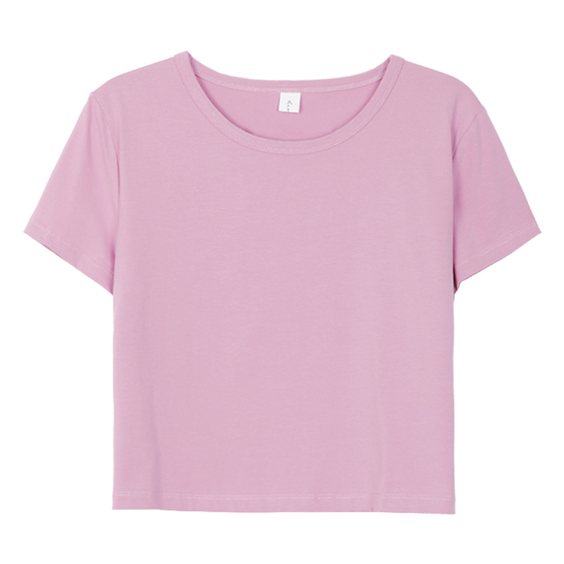 2019 Casual Summer Cotton Women Loose T-Shirt Solid Color Female Short T Shirts Purple Yellow Tops Tees Ladies