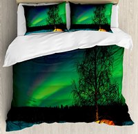 Northern Lights Duvet Cover Set, Camping Tent under Magnetic Field Nature Picture, 4 Piece Bedding Set