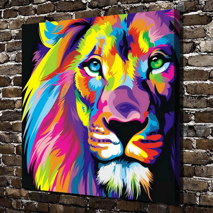 a3492 abstract painting color lion animal hd canvas print home decoration living room bedroom wall