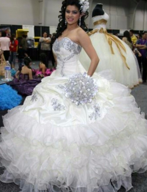 Gorgeous Puffy Sweet 16 Sixteen Princess White Quinceanera Dresses ...