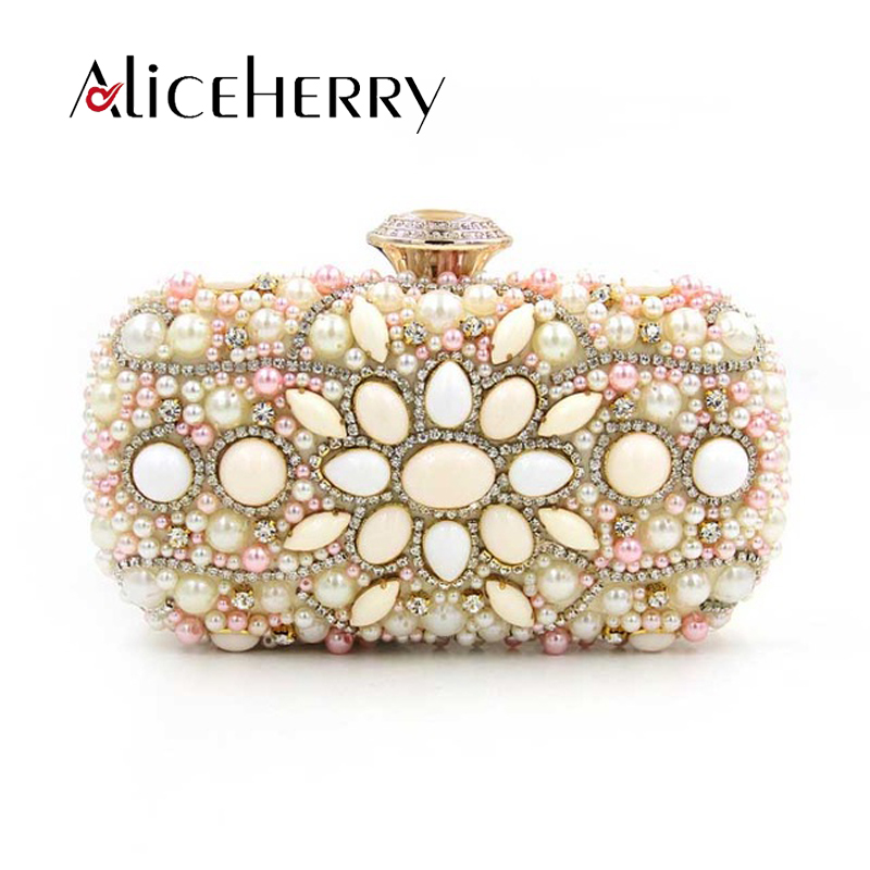 Aliceherry luxury clutch handbags women famous brands manual gem diamond bead embroidered evening cluthes wedding party bag slogan alien print water color tee
