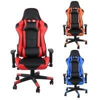 Эргономичный игровой стул Офис компьютерное кресло с высокой спинкой с подголовником поясничного Поддержка Racing игровые кресла оранжевый/к