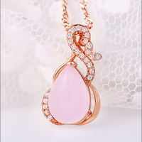 J R Store Water Drop Pendants Pink Furong Stone Necklaces For Women Golden Chain Statement Necklaces